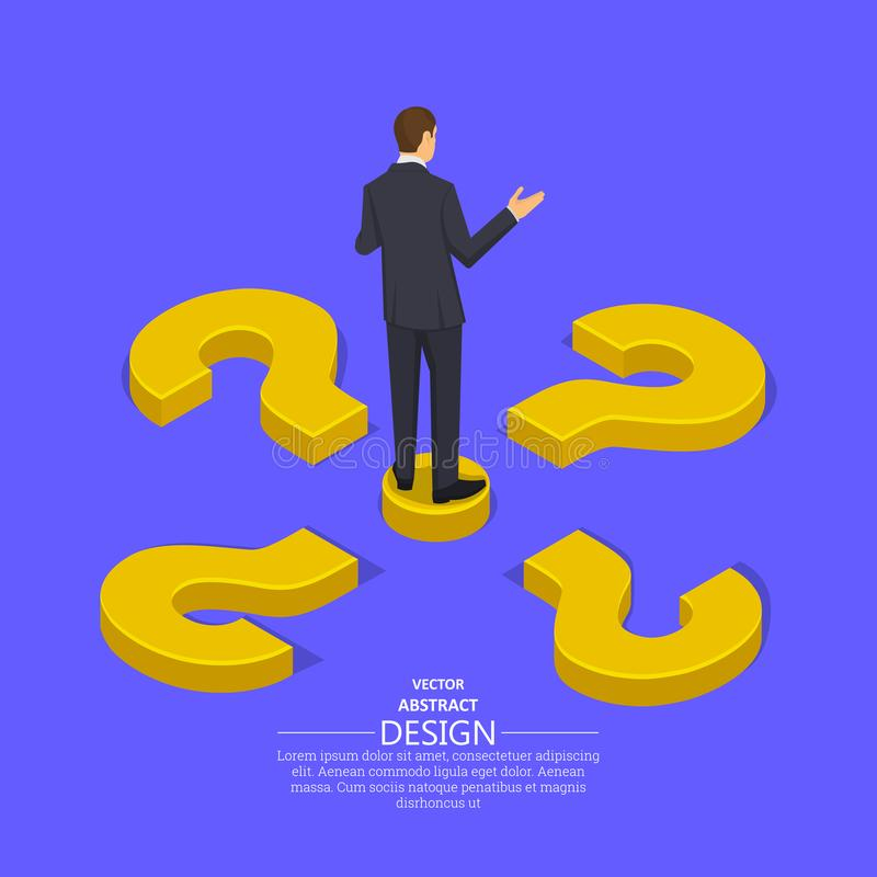 Businessman at the crossroads question. Marks.Concept of the choice of the correct decision.Difficulty, obstacle, solution at the businessman.Isometric vector illustration