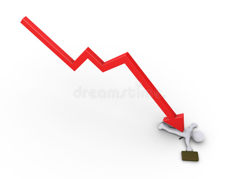 Businessman Is Crushed By Arrow Graph Stock Image