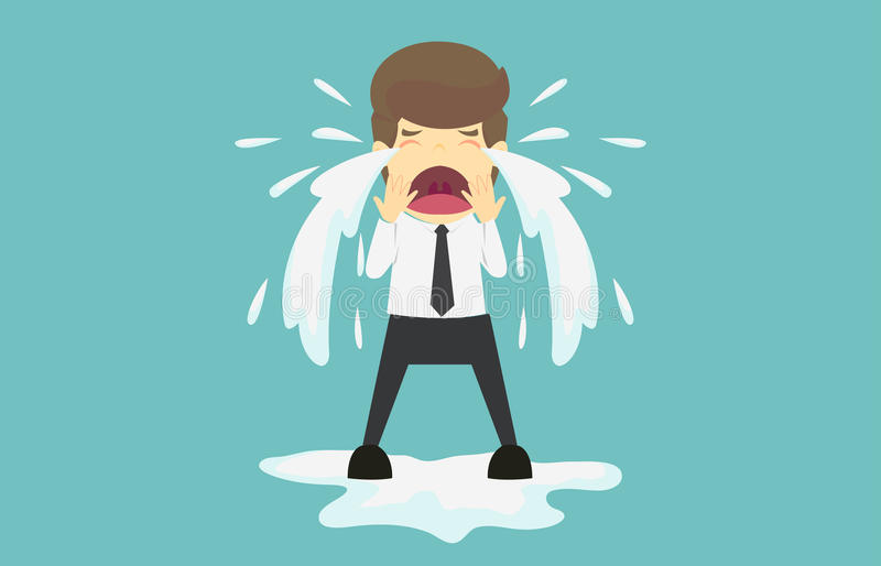 Businessman crying sad.Cartoon of business fail is the concept o. F the man characters business, the mood of people, can be used as a background, banner stock illustration