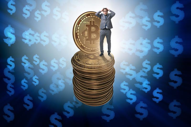 The businessman in cryptocurrency blockchain concept. Businessman in cryptocurrency blockchain concept royalty free illustration