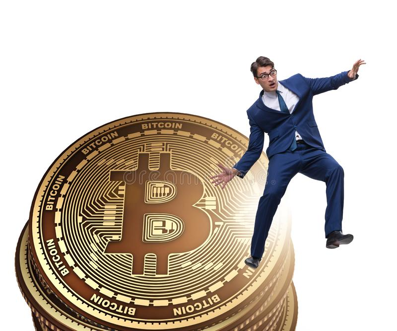 Businessman in cryptocurrency blockchain concept. The businessman in cryptocurrency blockchain concept stock illustration