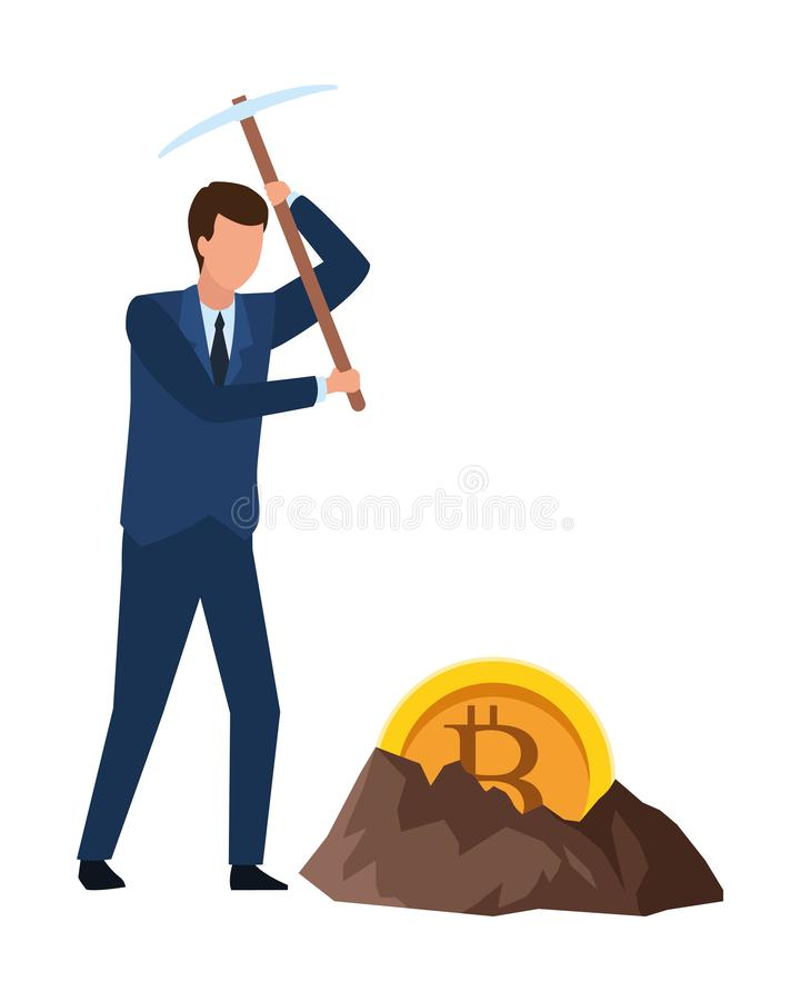 Businessman and cryptocurrency embedded in the ground. Bitcoin and pickaxe vector illustration graphic design vector illustration