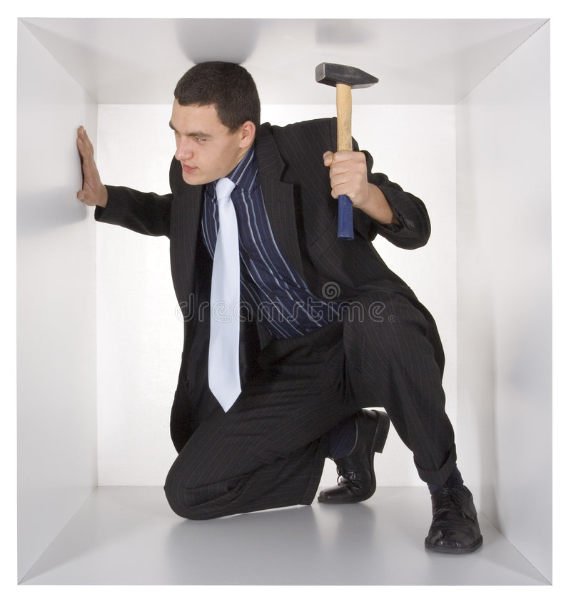 Download Businessman in the cube stock image. Image of real, design - 1434941