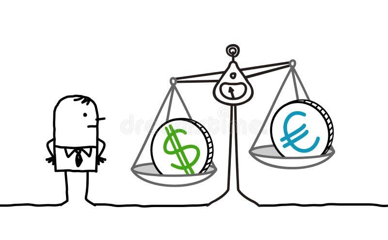 Businessman & currencies in balance. Hand drawn cartoon characters - businessman & currencies in balance stock illustration