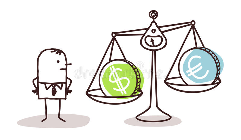 Businessman and currencies in balance royalty free illustration