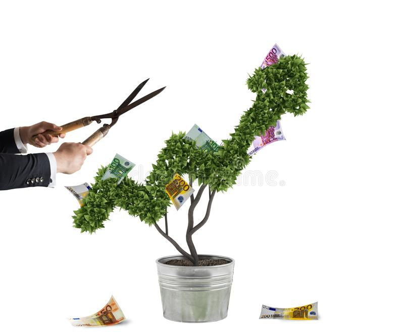 Businessman that cuts and adjusts money tree shaped like an arrow stats. Concept of startup company . 3D Rendering royalty free stock images