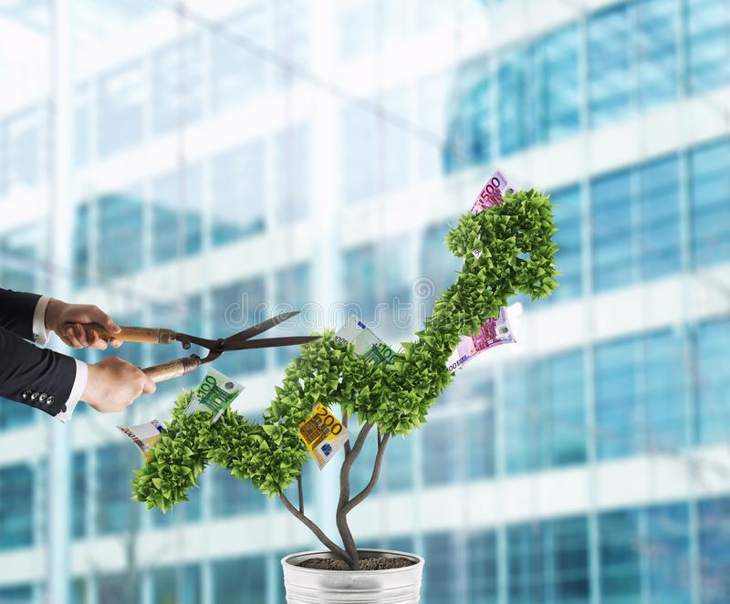 Businessman that cuts and adjusts money tree shaped like an arrow stats. Concept of startup company . 3D Rendering royalty free stock photo