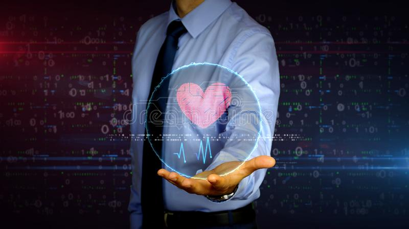 Businessman with cyber heart and love hologram. Man with dynamic cybernetic heart symbol hologram on hand. Businessman and futuristic concept of love, cyber royalty free stock images