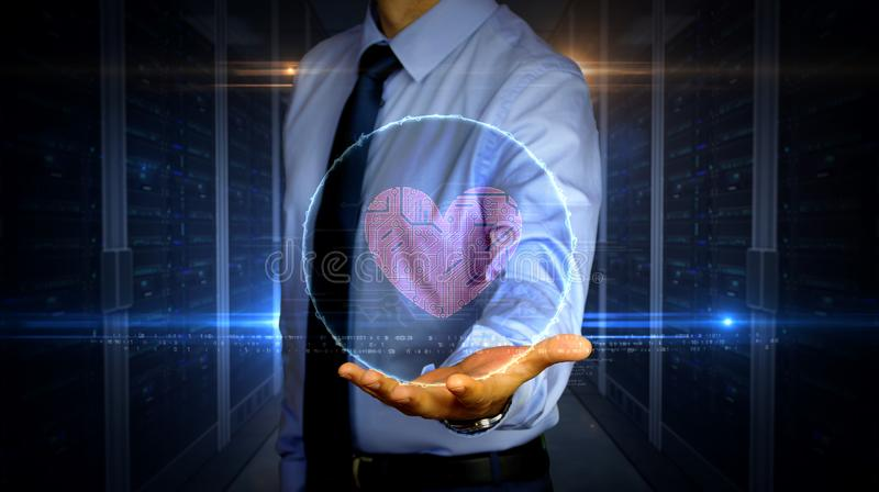Businessman with cyber heart and love hologram. Man with dynamic cybernetic heart symbol hologram on hand. Businessman and futuristic concept of love, cyber royalty free stock photo