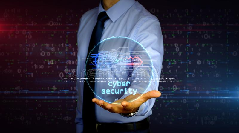 Businessman with cyber key symbol hologram. Man with dynamic cyber key symbol hologram on hand. Businessman and futuristic concept of Computer security stock photos