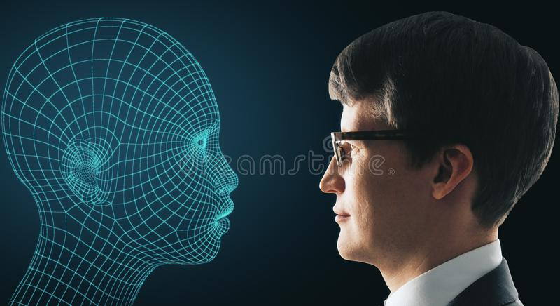 Robotics concept. Businessman and cyber robot profile on blue background. Robotics concept. 3D Rendering royalty free stock photos