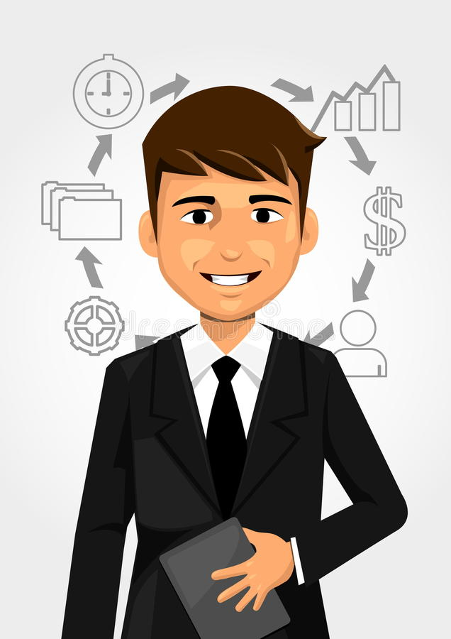 Businessman cycle growth vector illustration