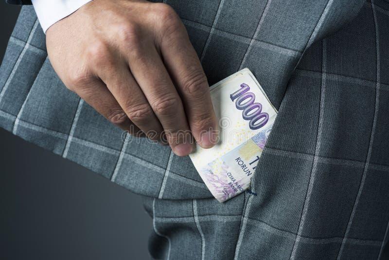 Businessman with czech korunas banknotes royalty free stock photos