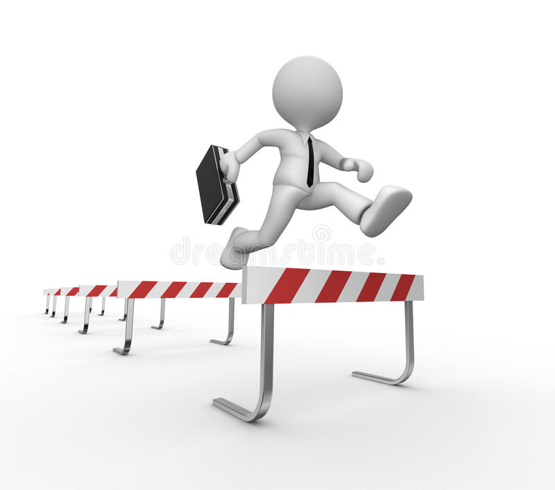Businessman. 3d people - man, person jumping over a hurdle obstacle royalty free illustration