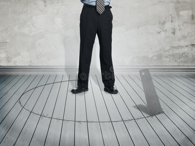 Businessman In Danger Situation Royalty Free Stock Image