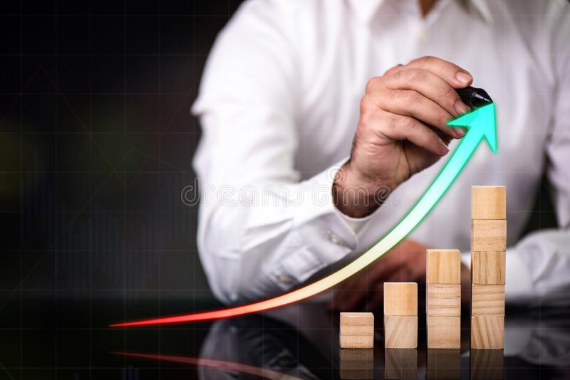 Business Profit Concept with Virtual Screen And Graphic royalty free stock photography