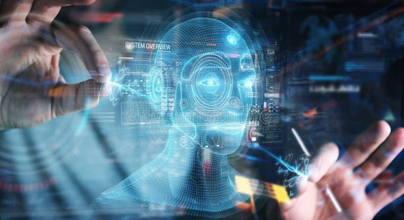 Businessman using digital artificial intelligence head interface 3D rendering. Businessman on dark background using digital artificial intelligence head stock illustration