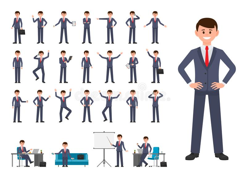 Businessman in dark blue suit cartoon character. Vector illustration of person working in office. Businessman in dark blue suit cartoon character. Vector vector illustration
