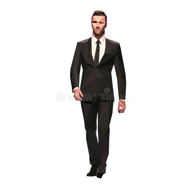 Businessman in dark suit walking forward, isolated polygonal stock illustration