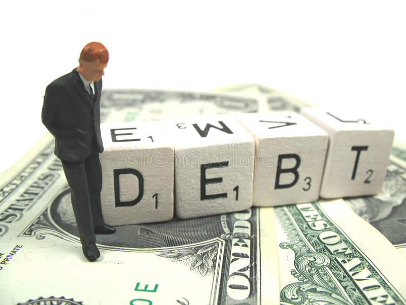 Businessman in debt royalty free stock photo