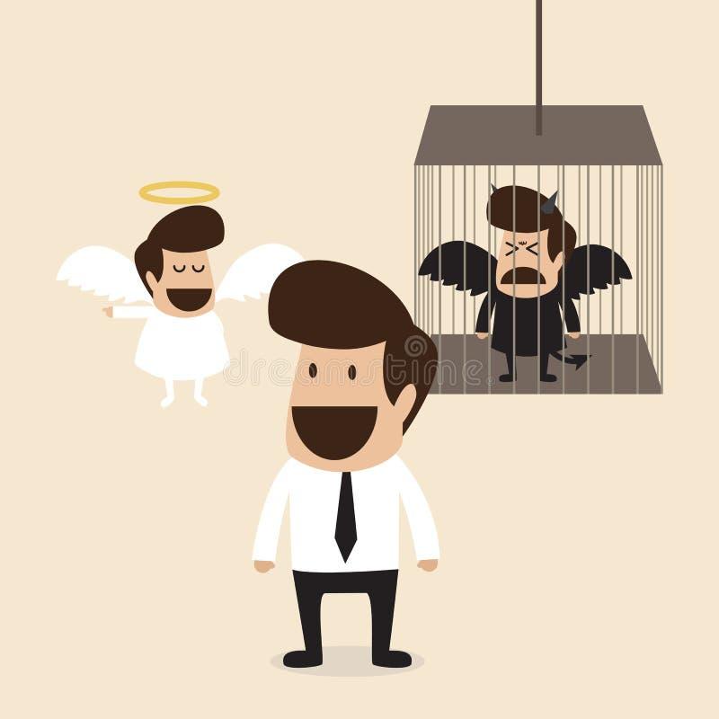 Businessman decide to belive angel mind and lock d. Vector cartoon of Businessman decide to belive angel mind and lock devil mind in cage stock illustration
