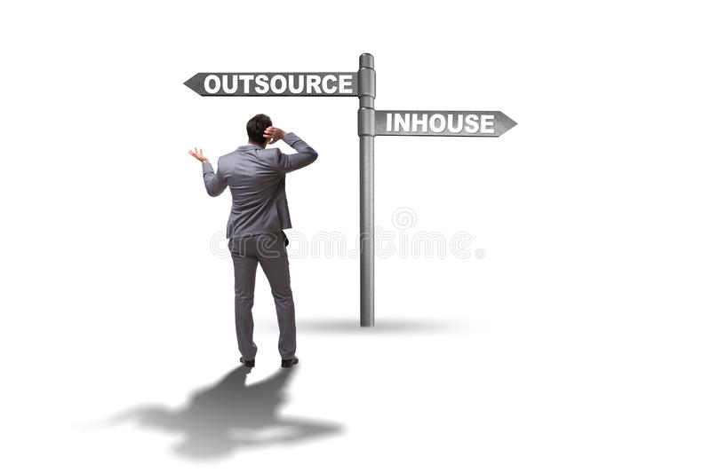 Businessman deciding between outsourcing and inhouse royalty free stock photos