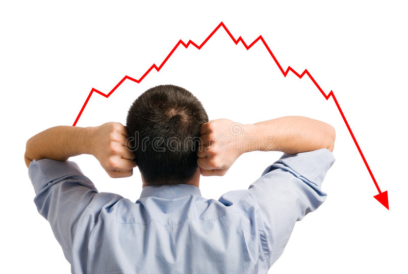 Businessman and declining share stock photos