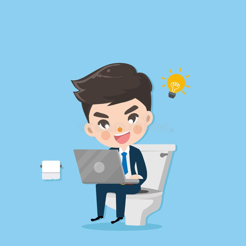 Businessman defecate and works in toilet. royalty free illustration