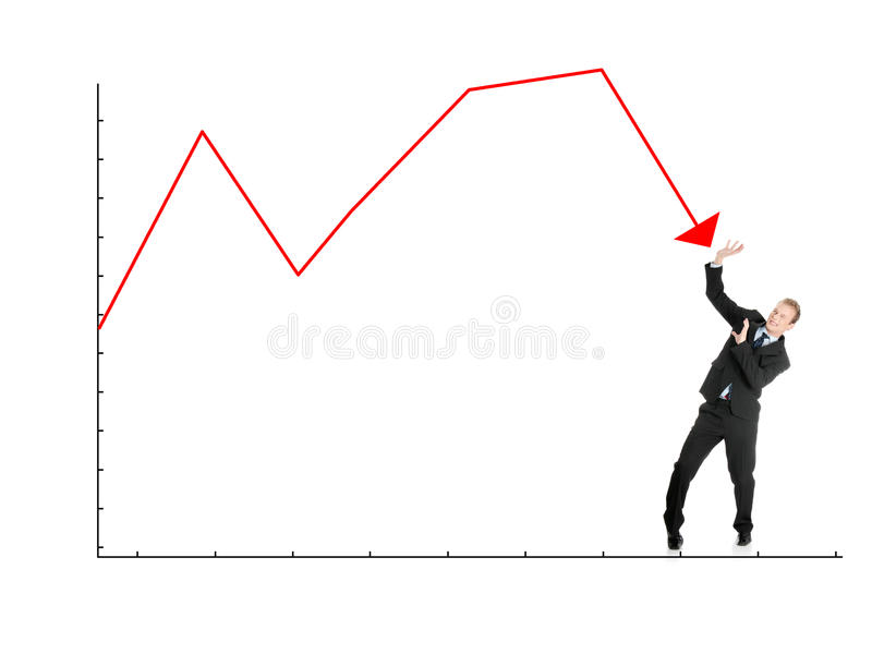 Businessman defend himself from falling graph royalty free stock images