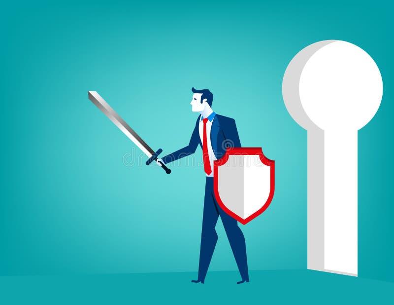 Businessman defending. Concept business illustration. Vector flat vector illustration