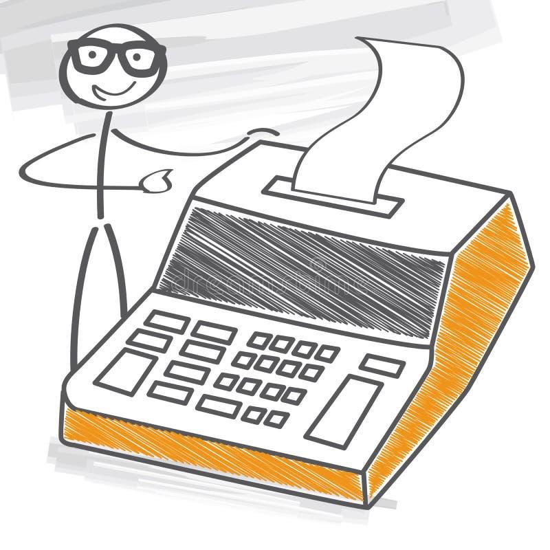 Businessman with desk calculator. Illustration