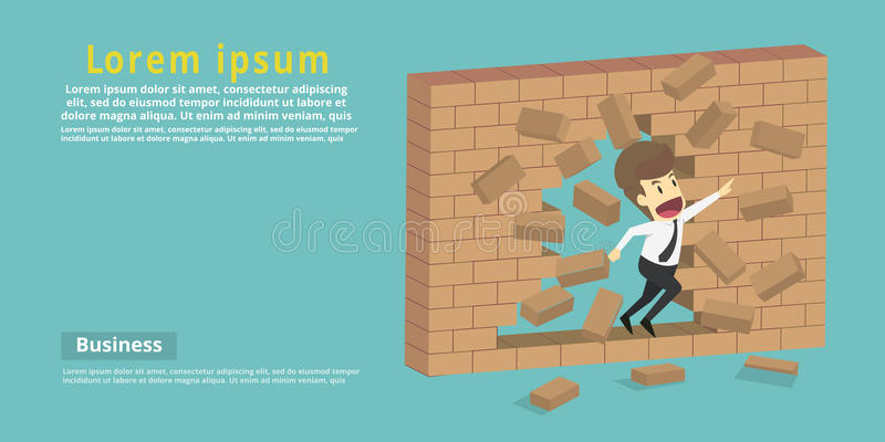 Businessman destroy the wall through the wall or barrier, escaping towards greater goal.Business young cartoon success concept is. Man character.businessman stock illustration