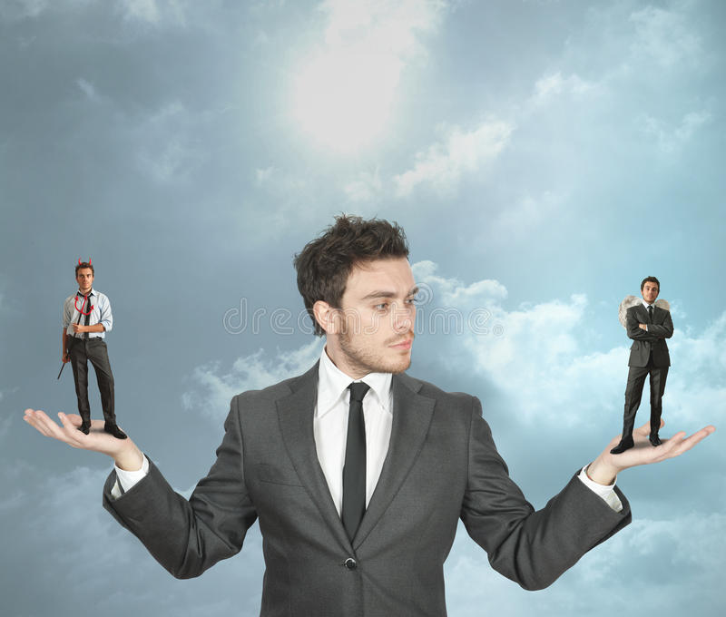 Download Businessman With Devil And Angel Stock Photo - Image: 25528822