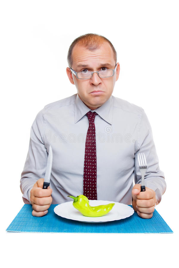 Download Businessman on a diet stock image. Image of pepper, eating - 16308305