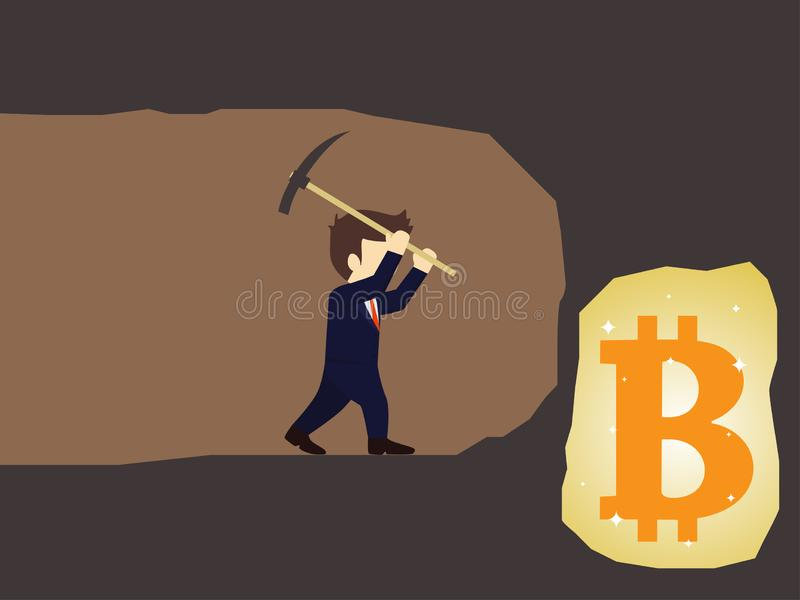 Businessman dig the earth in search of bitcoin. Vector illustration royalty free illustration