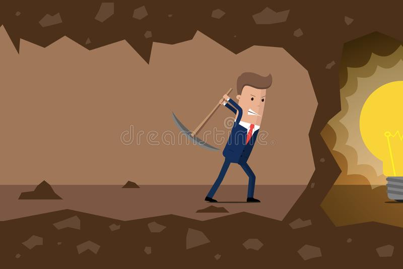 Businessman dig the earth in search of ideas. Vector illustration.  vector illustration