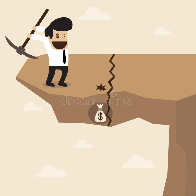 Businessman dig a ground to find a treasure at the. Vector cartoon of Businessman dig a ground to find a treasure at the edge of cliff stock illustration