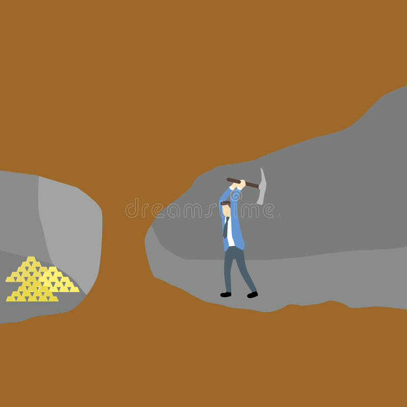 Businessman dig with shovel to get gold in adjacent tunnel in cross section view of underground mine. Cartoon businessman dig with shovel to get gold in vector illustration