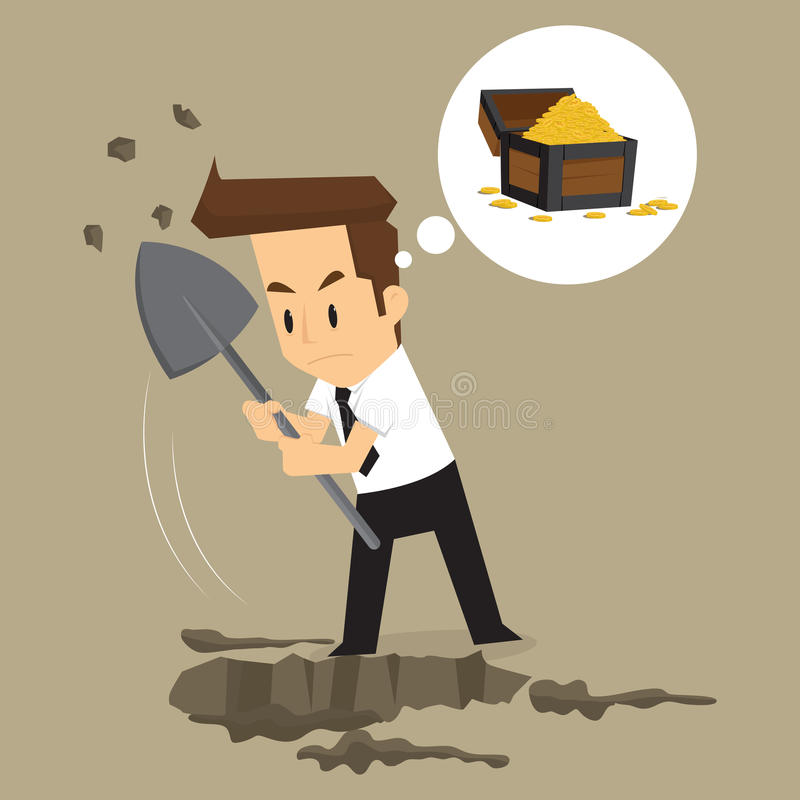 Businessman dig for treasure. Vector royalty free illustration