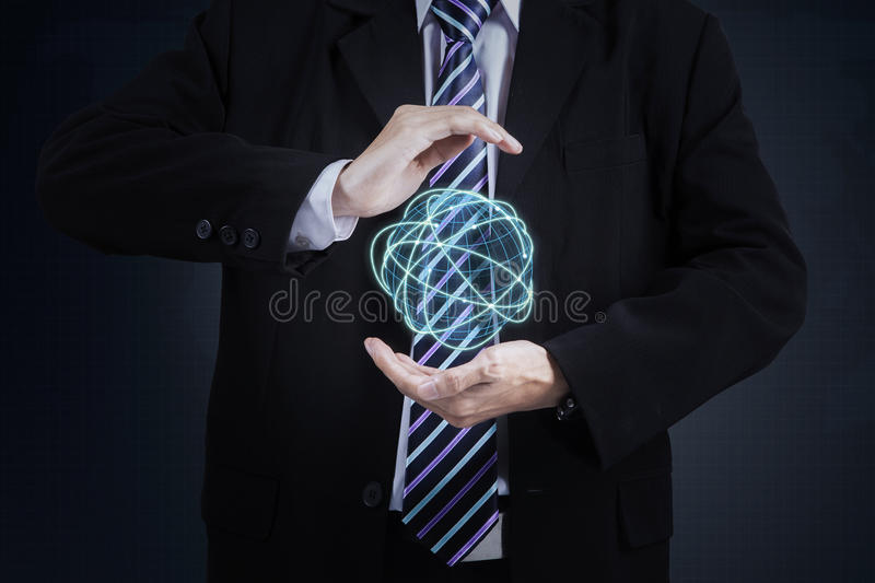 Businessman with digital globe royalty free stock photography