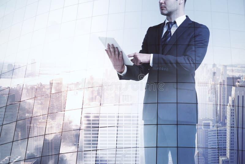 Businessman with digital tablet. At New York city view backgroound. 3D render stock illustration
