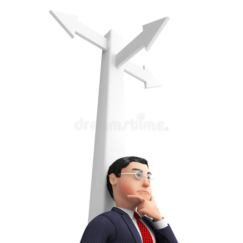 Businessman Without Direction Means Signpost Pointing And Decide stock illustration