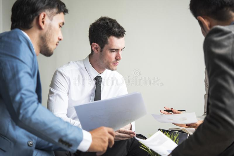 Businessman discussion conference. Young people sitting discuss royalty free stock photo