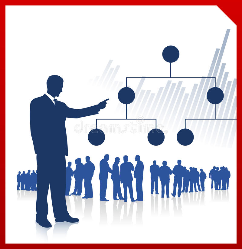 Businessman displaying chart with team vector illustration
