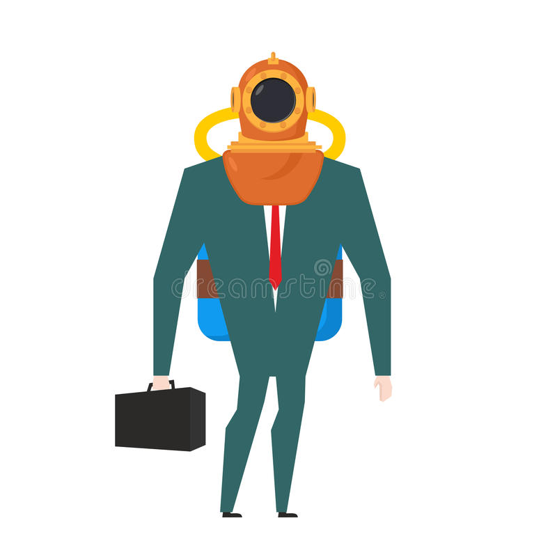 Businessman is diver. Deep-water suit and oxygen tank. Business concept stock illustration