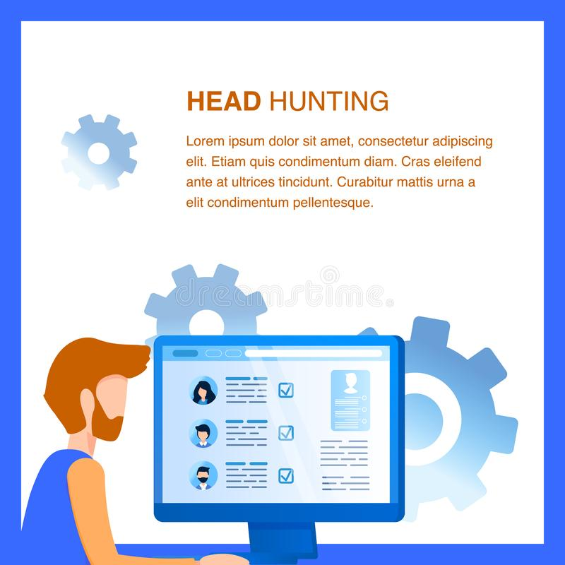Businessman do Head Hunting at Computer Screen vector illustration