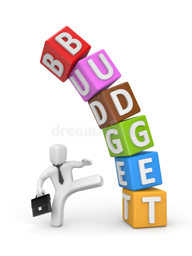 The businessman does not agree with the budget royalty free illustration