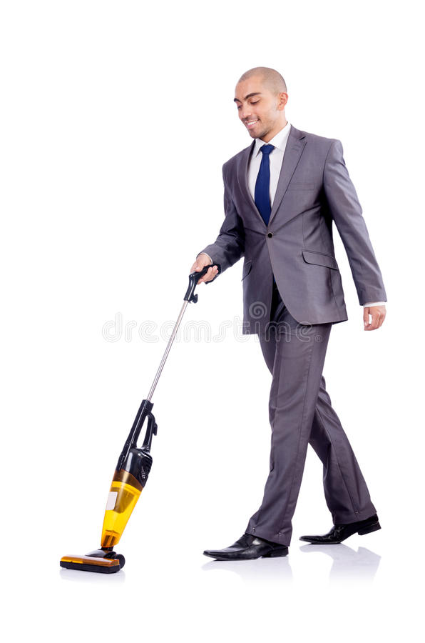 Download Businessman Doing  Cleaning On White Stock Image - Image: 29057089