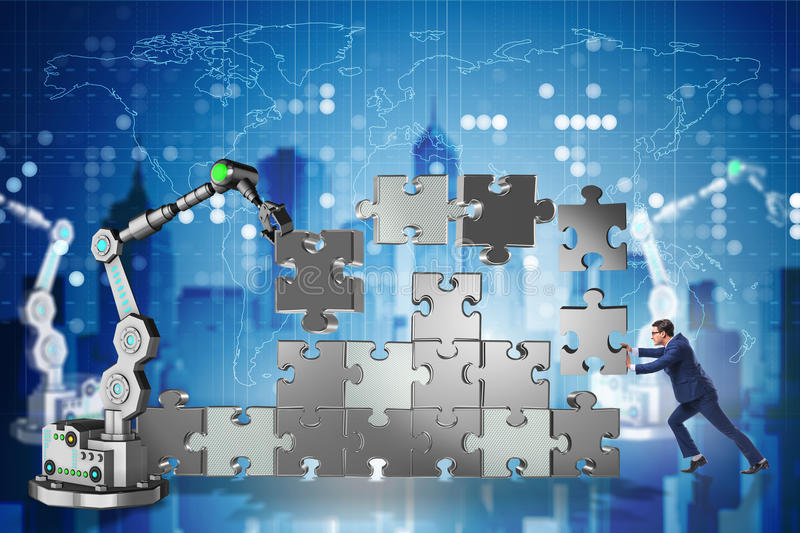 The businessman doing jigsaw puzzle with robotic arm royalty free illustration