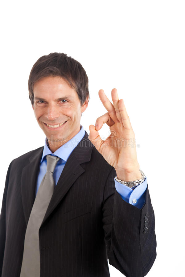 Businessman doing ok sign royalty free stock photography